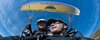 Tandem - Paragliding in Serfaus-Fiss-Ladis in Tyrol, Austria.
