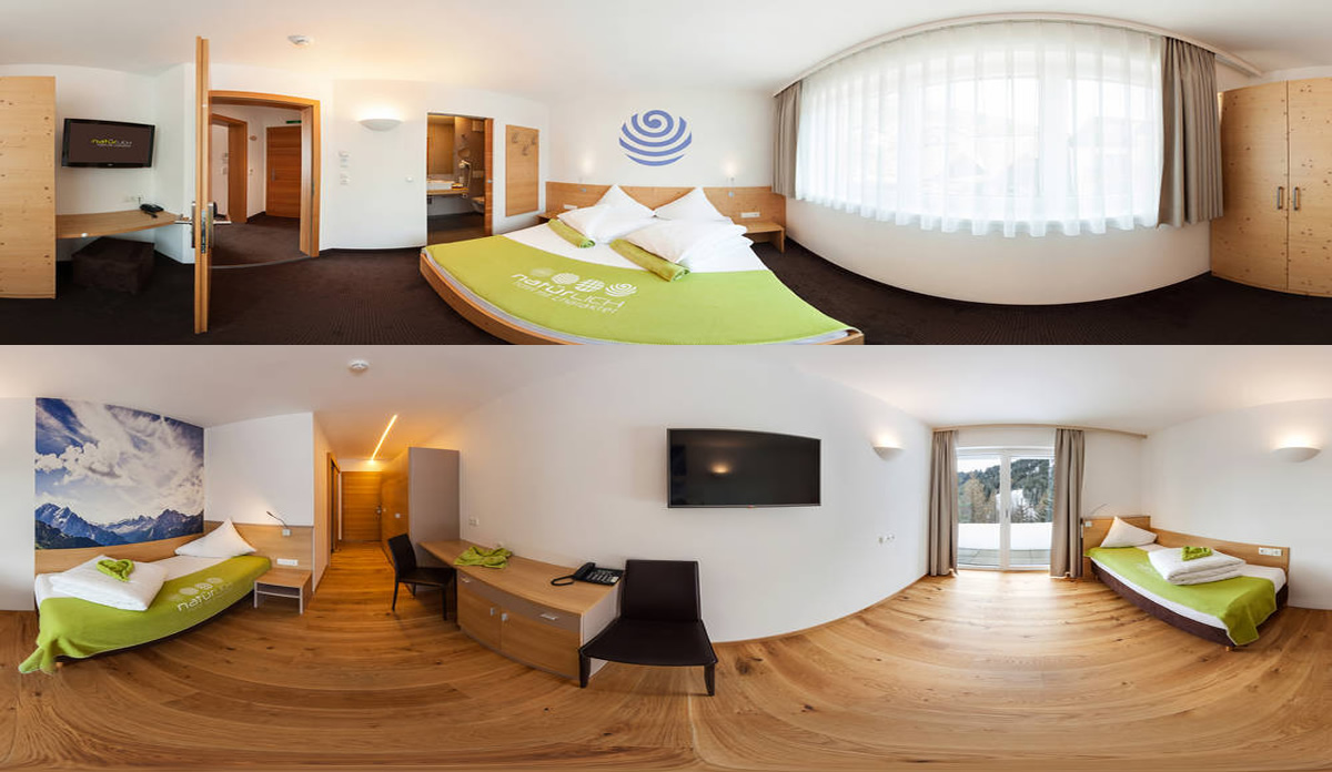 Natürlich. Hotel in Tyrol - Panorama capture of the singlerooms. Winter holidays in Serfaus-Fiss-Ladis.
