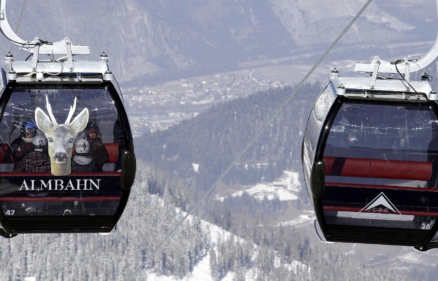 Almbahn in Serfaus-Fiss-Ladis in Tirol, Österreich.