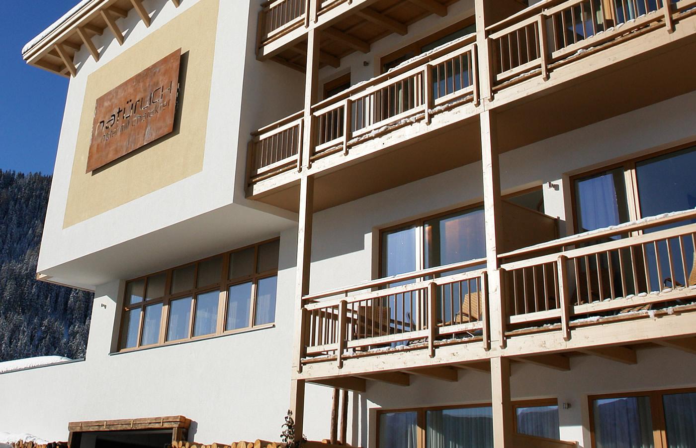 Südansicht des Hotels - Natürlich. Hotel in Fiss, Tirol.