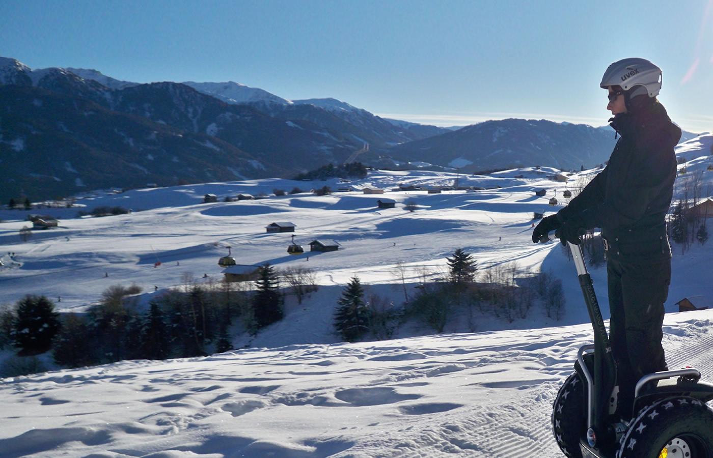 Segway - das sportliche Erlebnis in den Winter-Bergen von Fissm, Tirol.